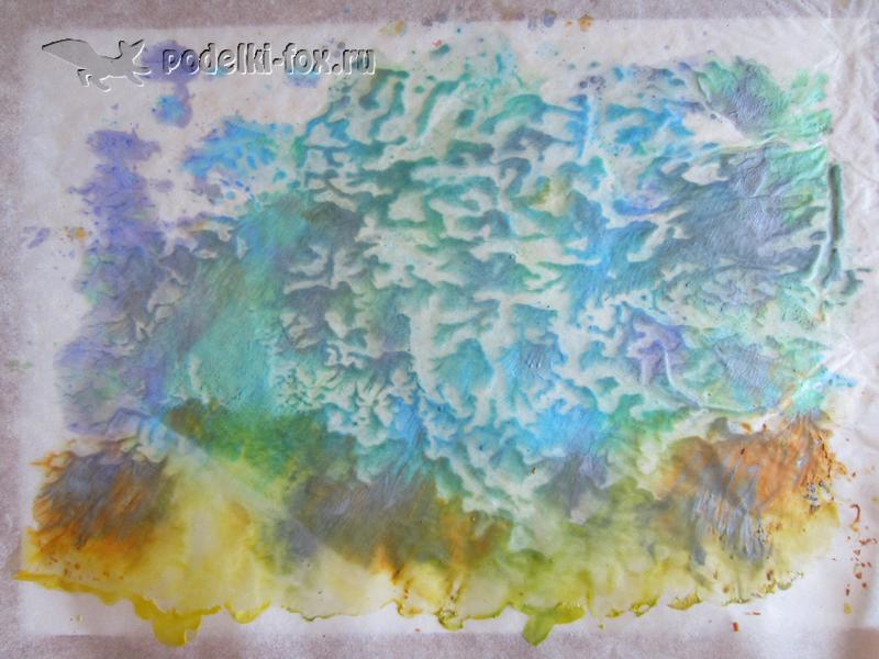 Рисование восковыми мелками. Плавление