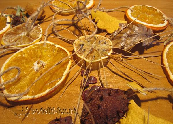 Новогодняя гирлянда с апельсинами и лимонами
