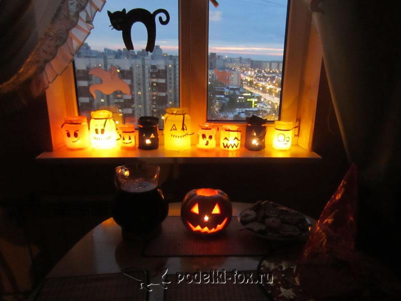 Подсвечник на Хэллоуин - роспись витражными красками